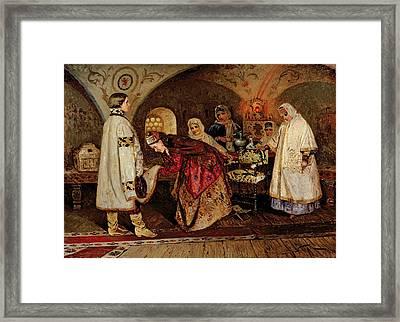 Tsar Alexei Mikhailovich Meeting His Bride, Maria Miloslavasky Framed Print by Mikhail Vasilievich Nesterov
