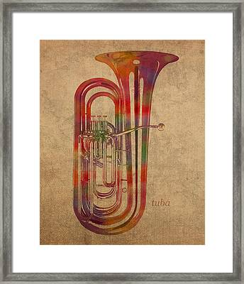 Tuba Brass Instrument Watercolor Portrait On Worn Canvas Framed Print by Design Turnpike