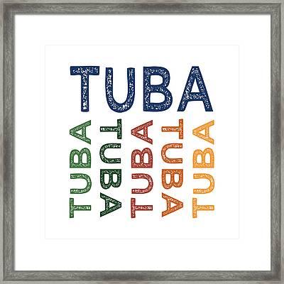 Tuba Cute Colorful Framed Print by Flo Karp