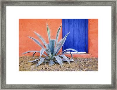 Tucson Barrio Blue Door Painterly Effect Framed Print by Carol Leigh