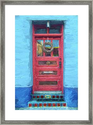 Tucson Barrio Red Door Painterly Effect Framed Print by Carol Leigh