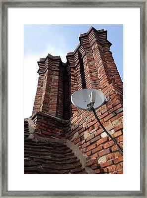 Tudor Chimneys With Satellite Dish Framed Print by Cordelia Molloy