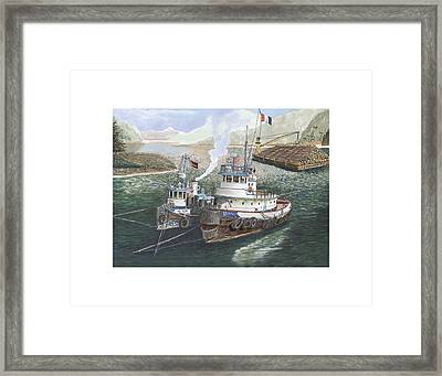 Two Tug Boats Anchored In Safe Harbor Framed Print by Jack Pumphrey