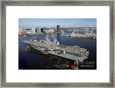 Tugboats Position The Amphibious Framed Print by Stocktrek Images