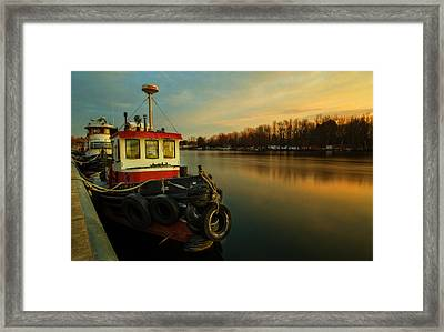 Tugs At Sunrise Framed Print by Everet Regal