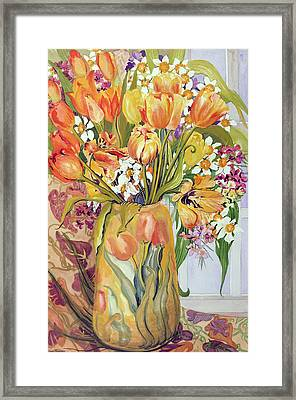 Tulips And Narcissi In An Art Nouveau Vase Framed Print by Joan Thewsey