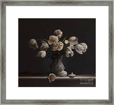 Tulips In A Chocolate Pot Framed Print by Larry Preston