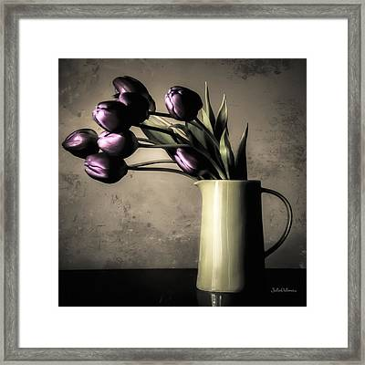 Tulips In The Evening Light Framed Print by Julie Palencia