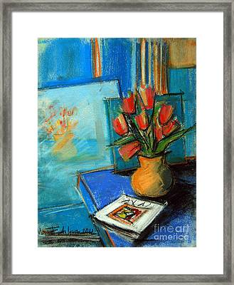 Tulips In The Mirror Framed Print by Mona Edulesco