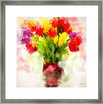 Tulips With Love Framed Print by Lourry Legarde