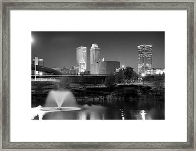 Tulsa Oklahoma Skyline Black And White Framed Print by Gregory Ballos