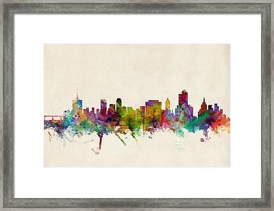 Tulsa Oklahoma Skyline Framed Print by Michael Tompsett