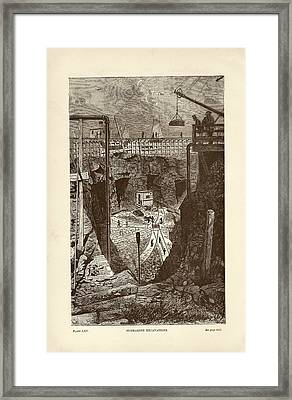Tunnel Construction Framed Print by Art And Picture Collection/new York Public Library
