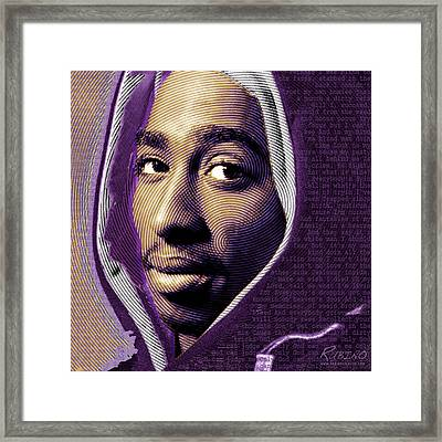 Tupac Shakur And Lyrics Framed Print by Tony Rubino
