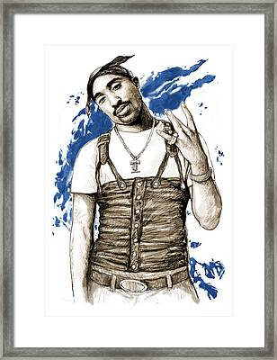Tupac Shakur Colour Drawing Art Poster Framed Print by Kim Wang