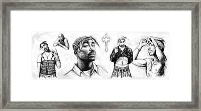 Tupac Shakur Long Drawing Art Poster Framed Print by Kim Wang