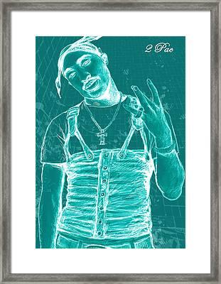 Tupac Shakur Long Stylised Drawing Art Poster Framed Print by Kim Wang