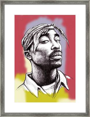 Tupac Shakur Morden Art Drawing Portrait Poster Framed Print by Kim Wang