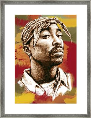 Tupac Shakur Stylised Drawing Art Poster Framed Print by Kim Wang