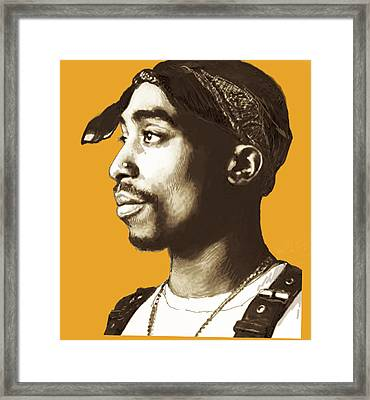 Tupac Shakur Stylised Pop Art Poster Framed Print by Kim Wang