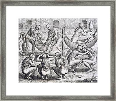 Tupinamba Chief And His Family Fall Ill While Hans Staden Is Held Captive Framed Print by Theodore De Bry