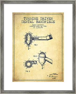 Turbine Driven Dental Handpiece Patent From 1964 - Vintage Framed Print by Aged Pixel
