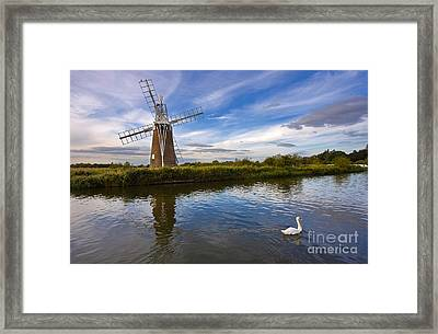 Turf Fen Drainage Mill Framed Print by Louise Heusinkveld