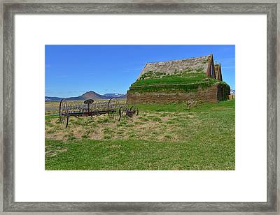 Turf Houses And Rake At Modrudalur Framed Print by Jeffrey Hamilton