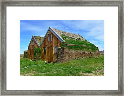 Turf Houses At Modrudalur Framed Print by Jeffrey Hamilton