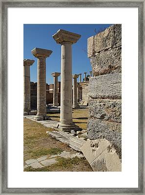 Turkey, Ephesus Ruins Of The Basilica Framed Print by Emily Wilson