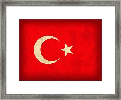 Turkey Flag Vintage Distressed Finish Framed Print by Design Turnpike