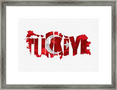 Turkey Typographic Map Flag Framed Print by Ayse Deniz