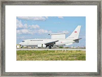 Turkish Air Force E-7 Awacs Aircraft Framed Print by Giovanni Colla