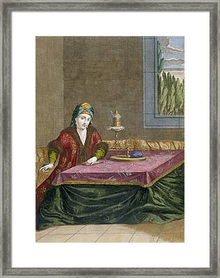 Turkish Woman Spinning Thread, C.1708 Framed Print by French School