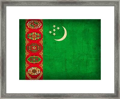 Turkmenistan Flag Vintage Distressed Finish Framed Print by Design Turnpike