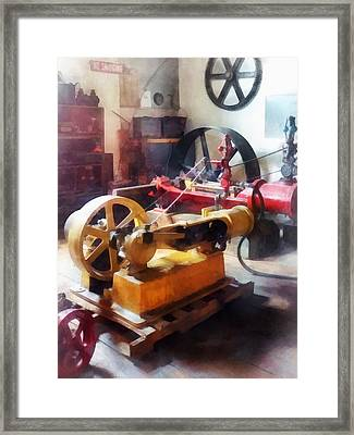 Turn Of The Century Machine Shop Framed Print by Susan Savad