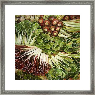 Turnip And Chard Concerto Framed Print by Jen Norton