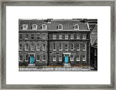 Turquoise Doors At Tower Of London's Old Hospital Block Framed Print by James Udall