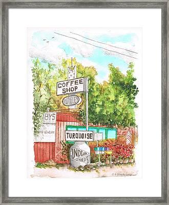 Turquois Coffee Shopp In Three Rivers - California Framed Print by Carlos G Groppa