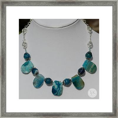 Turquoise And Sapphire Agate Necklace 3674 Framed Print by Teresa Mucha