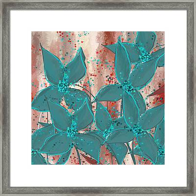 Turquoise And Splattered Red Framed Print by Lourry Legarde