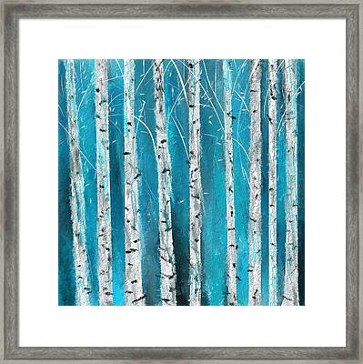 Turquoise Birch Trees II- Turquoise Art Framed Print by Lourry Legarde