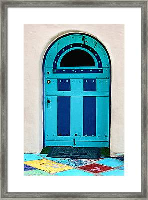 Turquoise Door Framed Print by Art Block Collections