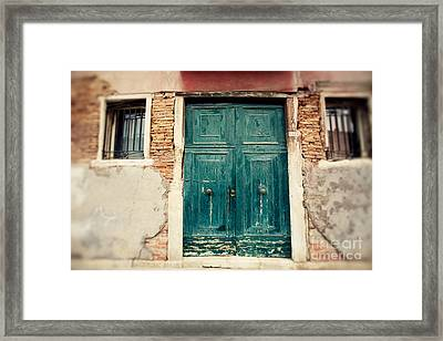 Turquoise Door In Venice Framed Print by Erin Johnson