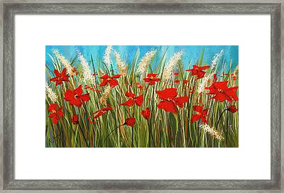 Turquoise Poppies - Red And Turquoise Art Framed Print by Lourry Legarde