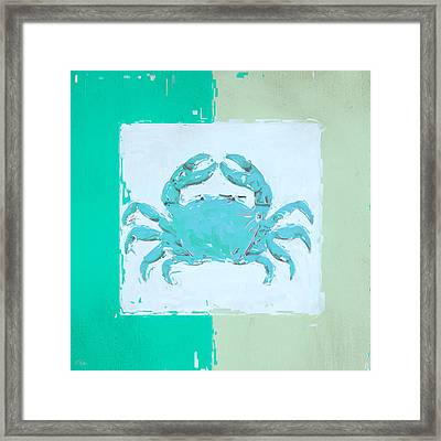 Turquoise Seashells Xv Framed Print by Lourry Legarde