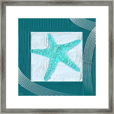 Turquoise Seashells Xvi Framed Print by Lourry Legarde