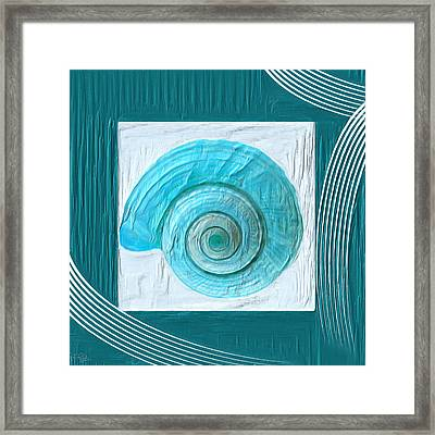 Turquoise Seashells Xvii Framed Print by Lourry Legarde