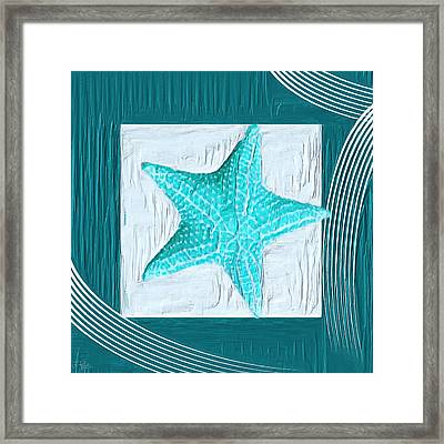 Turquoise Seashells Xviii Framed Print by Lourry Legarde