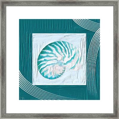 Turquoise Seashells Xxi Framed Print by Lourry Legarde